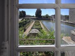 Domaine de Beaumesnil (également sur commune de Gouttières) - English:   Another room with a view over the 19th century garden jardin des quatre saisons at Château de Beaumesnil.