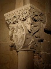 Eglise de l'Assomption - Français:   Intérieur de l\'église Notre-Dame-de-l\'Assomption de Rieux-Minervois (11). Chapiteau.