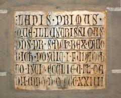 Cathédrale Saint-Jean-Baptiste - English: First marble building incription