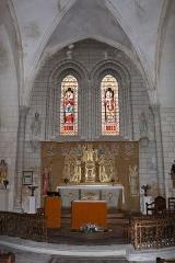 Eglise Saint-Martin - Chœur de l'église de Meursac et son retable du XVIIème siècle, Charente-Maritime, Poitou-Charentes, France.