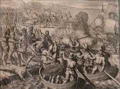 Hôtel de Fleuriau - English: Astonishment at the cannon shots fired from a boat. Christopher Columbus, 1494. Antonius de Herrera. Leiden 1706: De roemwaardige scheeps-togt van Christoffel Kolumbus; door hem allereerst in den jare 1492. ....