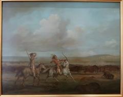 Hôtel de Fleuriau - English: Indians hunting for buffalo. After George Catlin. Oil, H. 37; L. 47 cm. Musée du Nouveau Monde. La Rochelle