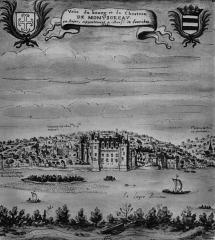 Château - Italiano:   Castello di Montsoreau nel XVII secolo; acquerello della collezione Gaignières, Biblioteca nazionale di Parigi. Castello di Montsoreau è iscritto tra i più bei borghi di Francia
