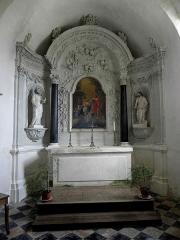 Eglise - Français:   Intérieur de l\'église Saint-Jean-Baptiste de Bannes (53). Maître-autel et son retable.