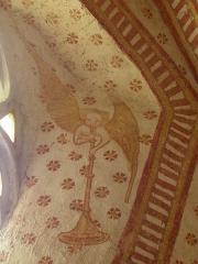 Eglise paroissiale Notre-Dame - Fresques ornant le mur sud de la chapelle Sainte-Anne de l'église Notre-Dame de Cossé-en-Champagne (53). Ange buccinateur.