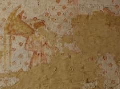 Eglise paroissiale Notre-Dame - Français:   Fresques ornant les voûtes de la chapelle Sainte-Anne de l\'église Notre-Dame de Cossé-en-Champagne (53). Partie ouest. Anges musiciens.