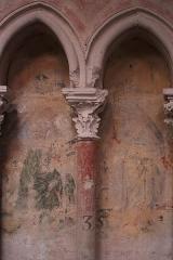 Cathédrale Saint-Julien - Peinture murale figurant l'Annonciation dans une arcature du déambulatoire extérieur de la cathédrale Saint-Julien du Mans (72).