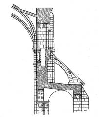 Maison, dans la cour du Musée des Antiquaires de Normandie - English: Fig 08 -section of Abbaye-aux-Dames. From scan of book