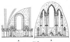 Maison, dans la cour du Musée des Antiquaires de Normandie - English: Fig 78 -Clerestories of Abbaye-aux-Dames and choir of Lincoln resply. From scan of book