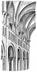 Maison, dans la cour du Musée des Antiquaires de Normandie - English: Fig 86 -Interior system of the Abbaye-aux-Dames. From scan of book