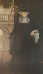 Maison, dans la cour du Musée des Antiquaires de Normandie - Tableau d'Anne Ière de Montmorency, abbesse de la Trinité de Caen (1554-1588).