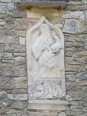 Chapelle de Lenoux - English: Relief on the southern side of the chapelle de Lenoux (Laives, Saône-et-Loire, France).