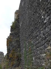 Château - Château de Rochemaure est à la fois une curiosité architecturale et géologique. Construit sur un dyke basaltique la montagne fait partie de la muraille, il est parfois difficile de voir où s'arrête l'un où commence l'autre! Construit en pierres noires (basalte) et blanches (calcaire) les murailles sont à l'image du département Ardèche entre volcans et Rhône.