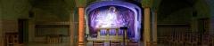 Eglise du Sacré-Coeur : l'église ; les façades et toitures du presbytère, de l'ancienne cité paroissiale, actuel centre universitaire catholique, et la clôture de ces bâtiments (cad. AV 222, 223) : inscription par arrêté du 2 août 2012 - Vue panoramique de la crypte de l'église du Sacré-Cœur, (Dijon, Côte d'Or, Bourgogne, France).