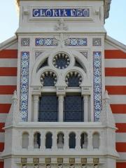 Chapelle Sainte-Marie-du-Cap - Français:   Chapelle Sainte-Marie-du-Cap, chapelle de la Villa Algérienne à Lège-Cap-Ferret (33). Façade principale. 1er étage: tribune des sonneurs.