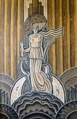 Hôtel de ville -  Montdidier (Somme, France) -  Peinture murale dans l'Hôtel-de-ville.  Cette oeuvre de style
