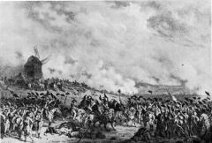 Moulin de Valmy - Deutsch:   die Kanonade von Valmy 1792. Stich. Bibliotheque Nationale in Paris. Goethes Ausspruch an diesem Tage: \