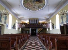 Eglise -  Alsace, Bas-Rhin, Willgottheim, Église Saint-Maurice (PA00085236, IA67001050): Vue intérieure de la nef vers la tribune d'orgue.