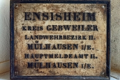 Hôtel de ville - English:  Ensisheim (Grand-Est, France); sign of Landwehrbezirk II (part of XIV. Armeekorps, Landwehrinspektion 58 since 1914) Mülhausen im Elsass (former German district Gebweiler)