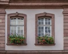 Hôtel de ville - English:   Windows of the town hall of Ribeauvillé, Haut-Rhin, France
