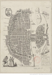 Enceinte de Philippe-Auguste - English:  Northern part of Paris from a german plan (1572 & 1574). With the wall of Philippe-Auguste, its gates and its posterns.
