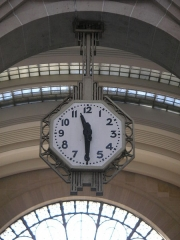 Gare de l'Est -  Art deco clock in one of the arrival halls of the Gare de l\'Est in Paris
