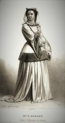 Théâtre de la Porte-Saint-Martin - Français:   Mme E. Halley interprète Idelette de Bure dans la pièce Les Libertins de Genève de Marc Fournier, au Théâtre de la Porte-Saint-Martin, gravure de Joseph Félon, 1848
