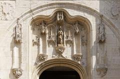 Eglise Notre-Dame - Français:   Linteau du portail central de la Collégiale Notre-Dame de Melun