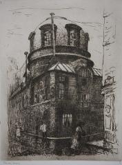 Maison d'Armande Béjart - Français:   Gravure de Frank Boggs représentant l\'ancienne académie de médecine de Paris (pavillon de l\'amphithéâtre de l\'ancienne bûcherie), vers 1906, Musée d\'art et d\'histoire de la ville de Meudon