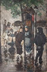 Maison d'Armande Béjart - Français:   Peinture à l\'huile de Frank Boggs représentant un boulevard parisien sous la pluie avec deux parisiennes, XXe siècle, Musée d\'art et d\'histoire de la ville de Meudon