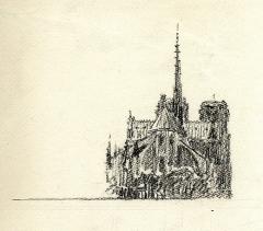 Maison d'Armande Béjart - Français:   Dessin de Frank Boggs représentant le chevet de Notre-Dame de Paris, premier quart du XXe siècle, Musée d\'art et d\'histoire de la ville de Meudon