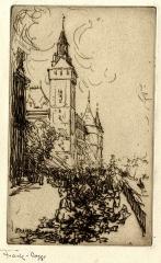 Maison d'Armande Béjart - Français:   Gravure de Frank Boggs représentant la Conciergerie et le marché aux fleurs (vus du Quai de la Corse) à Paris, vers 1906, conservée au Musée d\'art et d\'histoire de la ville de Meudon