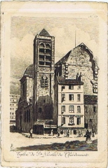 Eglise Saint-Nicolas-du-Chardonnet - English:  ST nicolas-du-Chardonnet church etching