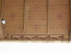 Eglise Notre-Dame - Français:   Église Notre-Dame de Grâces (22). Costale septentrionale de la nef. Charpente. 7ème sablière (numérotation d\'ouest en est).