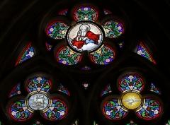 Cathédrale Saint-Corentin -  Baie 9 de la cathédrale Saint-Corentin à Quimper dans le Finistère. Tympan. La Trinité.