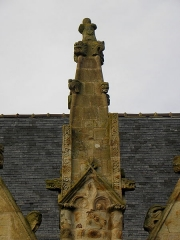 Eglise Saint-Melaine - Français:   Façade sud de l\'église Saint-Melaine de Domalain (35). 5ème contrefort. Pinacle.