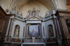 Ancienne abbaye -  Intérieur de l'abbatiale Notre-Dame de Paimpont (35). Croisillon nord. Autel et retable de Saint-Jean-Baptiste.
