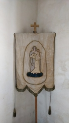 Eglise Saint-Cyr et Sainte-Julitte -  Banniere Sainte-Julitte, église Saint-Cyr-et-Sainte-Julitte, Fr-56 Ambon