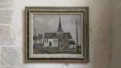 Eglise Saint-Cyr et Sainte-Julitte -  Huile sur toile signée Riobati, église Saint-Cyr-Sainte-Julitte, Fr-56 Ambon
