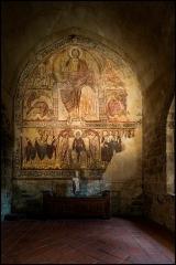Ancienne abbaye Saint-André-de-Lavaudieu - Français:   Ancienne abbaye de Lavaudieu, le réfectoire des moines, fresque murale du XIIe siècle.