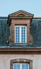 Préfecture - English:  Dormer window of the Hôtel Le Normant d'Ayssènes in Rodez, Aveyron, France