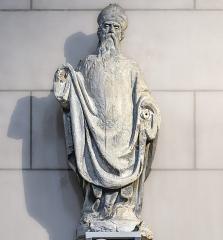 Eglise de la Dalbade - English:   Notre-Dame de la Dalbade in Toulouse. Statue of St Germerius - Original of the statue which adorns the facade.