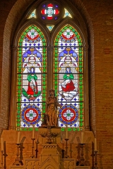 Eglise -  Altar of Saint Roch, stained glass window of Saint Germaine of Pibrac