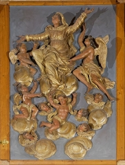 Eglise -  Bas-relief of the Assumption of the Virgin.