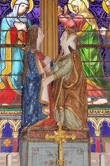 Eglise -   Saint Elizabeth (Sculptured Group:the Visitation, 15th century,  view from right).