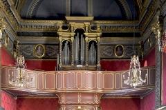 Eglise de la Conception -  Bastia, Haute-Corse - Orgue et tribune d\'orgue de l\'oratoire de la Conception; buffet du 17e siècle; tambour et tribune de l\'ébéniste corse Bernardo Cagnano en 1772; partie instrumentale reconstruite par les frères De Ferrari en 1848, non restauré et muet de nos jours.