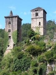 Restes du château de Merle - Français:   Ces tours font partie d\'un ensemble de maisons fortifiées formant un castrum des XII° et XV° siècles sur la commune de Saint-Geniez-ô-Merle (Corrèze)