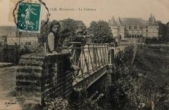 Domaine de Mesnières -  Carte postale vers 1910, Menières-en-Bray, le pont et le château. Éditeur Georges Marchand (?).