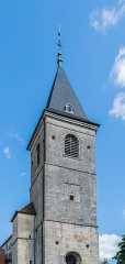 Eglise Saint-Symphorien - English:  Bell tower of the Saint Symphorian church in Gy, Haute-Saône, France