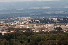 Eglise Saint-Vincent -  View of the Saint Vicent's church, from the viewpoint of The Cité (motorway A 64 from Toulouse to Narbonne )